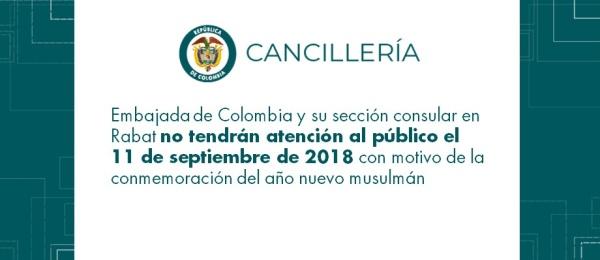 Embajada de Colombia y su sección consular en Rabat no tendrán atención al público el 11 de septiembre de 2018