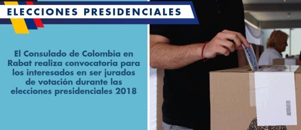 El Consulado de Colombia en Rabat realiza convocatoria para los interesados en ser jurados de votación durante las elecciones presidenciales 2018